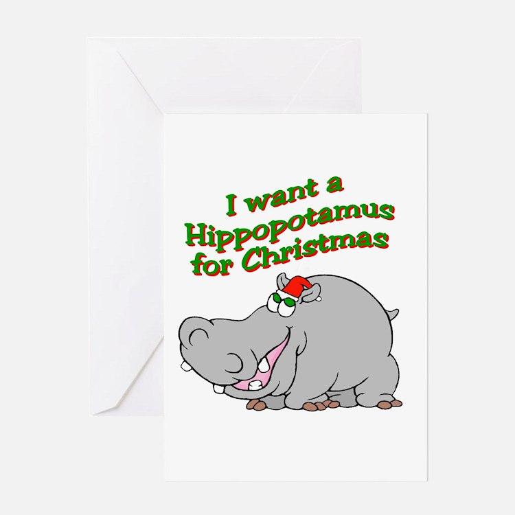 Cute Hippo christmas Greeting Card