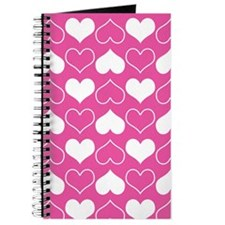 Pink and White Hearts Pattern Journal