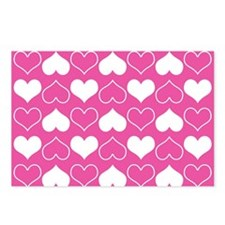 Pink and White Hearts Pat Postcards (Package of 8)