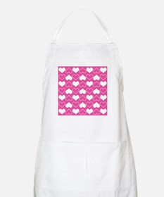 Pink and White Hearts Pattern Apron