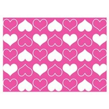 Pink and White Hearts Pattern Invitations