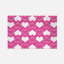 Pink and White Hearts Pattern Magnets