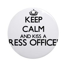 Keep calm and kiss a Press Office Ornament (Round)