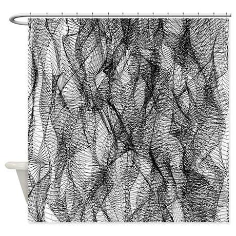 Black Mesh Lace Shower Curtain
