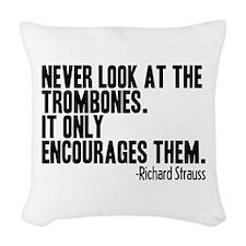 Trombone Quote Woven Throw Pillow