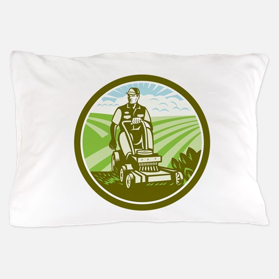 Ride On Lawn Mower Vintage Retro Pillow Case