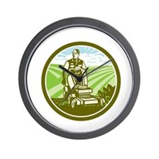 Ride On Lawn Mower Vintage Retro Wall Clock
