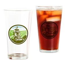 Ride On Lawn Mower Vintage Retro Drinking Glass