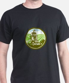 Ride On Lawn Mower Vintage Retro T-Shirt
