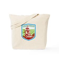 Ride On Lawn Mower Vintage Shield Retro Tote Bag