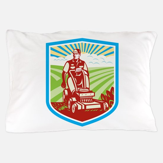 Ride On Lawn Mower Vintage Shield Retro Pillow Cas
