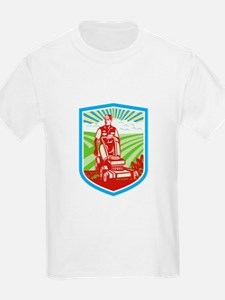 Ride On Lawn Mower Vintage Shield Retro T-Shirt