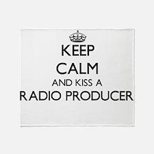 Keep calm and kiss a Radio Producer Throw Blanket