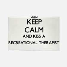 Keep calm and kiss a Recreational Therapis Magnets