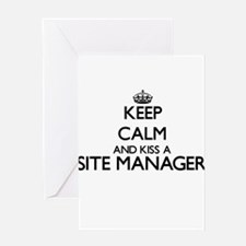 Keep calm and kiss a Site Manager Greeting Cards