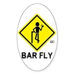 Warning Bar Fly Oval Sticker