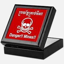 Danger!! Mines!! Cambodian Khmer Sign Keepsake Box