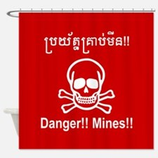 Danger!! Mines!! Cambodian Khmer Sign Shower Curta