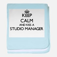 Keep calm and kiss a Studio Manager baby blanket