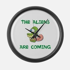 The Aliens are coming Large Wall Clock