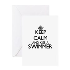 Keep calm and kiss a Swimmer Greeting Cards