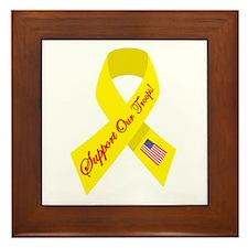 Support Our Troops Ribbon Framed Tile