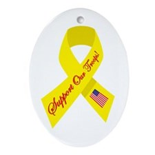 Support Our Troops Ribbon Oval Ornament