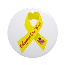 Support Our Troops Ribbon Ornament (Round)