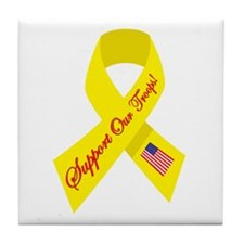 Support Our Troops Ribbon Tile Coaster
