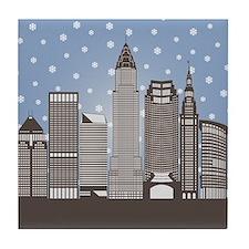Cleveland Snowflakes Tile Coaster