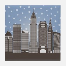Cleveland Snowflakes Tile Coaster