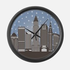 Cleveland Snowflakes Large Wall Clock