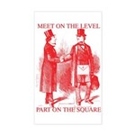 Masons meet on the level-Red Sticker (Rectangular
