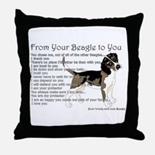 A Beagle's letter to you Throw Pillow