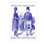 Meeting On the Level - Masonic Blue Postcards (Pa