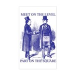 Meeting On the Level - Masonic Blue Sticker (Rect