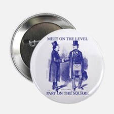 "Meeting On the Level - Masonic Blue 2.25"" Button"