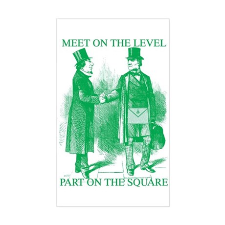 Meeting On the Level - Green Rectangle Sticker