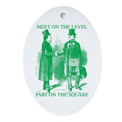 Meeting On the Level - Green Oval Ornament