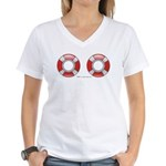 Life Preservers ~ Beach Women's V-Neck T-Shirt