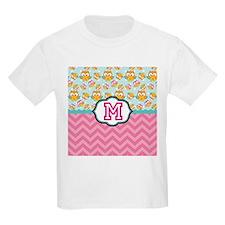 Pink Chevron Owls Monogram T-Shirt