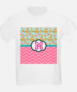 Pink Chevron Owls Monogram T-Shirt