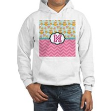 Pink Chevron Owls Monogram Hoodie