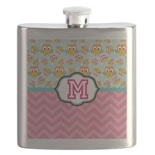 Pink Chevron Owls Monogram Flask