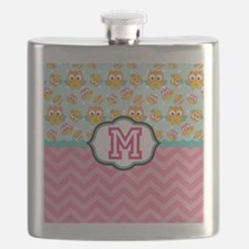 Pink Chevron Owls Monogram Flask