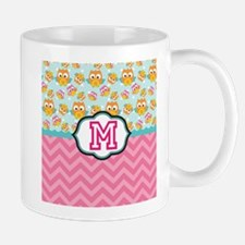 Pink Chevron Owls Monogram Mugs
