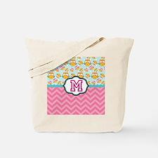 Pink Chevron Owls Monogram Tote Bag