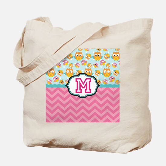 Pink Chevron Owls Monogram Tote Bag