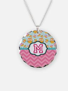 Pink Chevron Owls Monogram Necklace