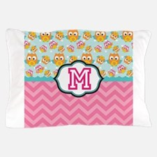 Pink Chevron Owls Monogram Pillow Case